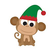 Christmas Elf Monkey Photographic Print