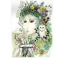 Blodeuedd, Celtic woman of owls and flowers Poster