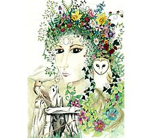 Blodeuedd, Celtic woman of owls and flowers Photographic Print