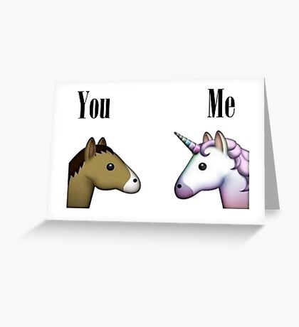 Unicorn emoji me vs you Greeting Card