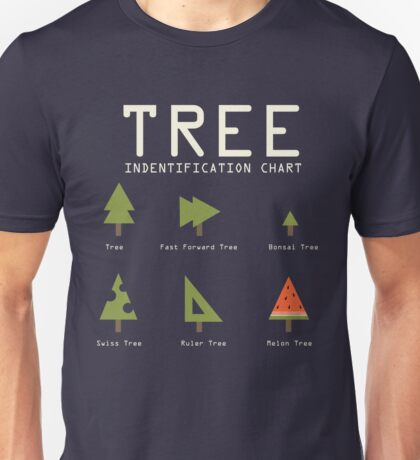 Funny Sarcastic Tree Identification Chart for Happy Campers Graphic Tee Shirt Unisex T-Shirt