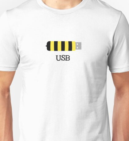 USB Bee Save the Bees Funny Sarcastic Illustrated Pun Graphic Tee Shirt Unisex T-Shirt