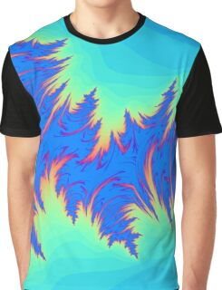 Abstract Shades of Blue Rippled Waves Graphic T-Shirt