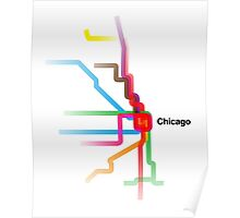 Chicago CTA Rainbow Map Poster