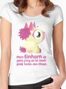 Einhorn Pink hinter den Ohren Women's Fitted Scoop T-Shirt