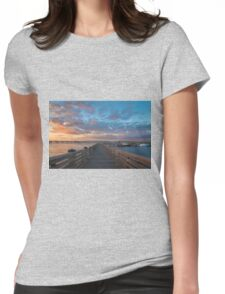 Harbor Walk Sunset  Womens Fitted T-Shirt