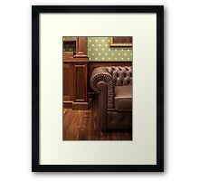 leather sofa in office Framed Print
