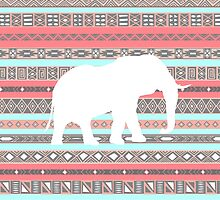 Elephant Aqua Coral Aztec Tribal Pattern by RexLambo