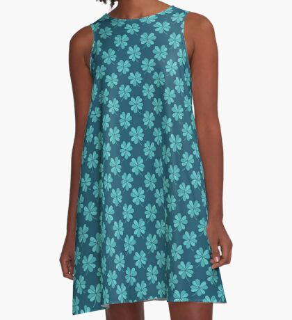 four leaf clover doodle pattern A-Line Dress