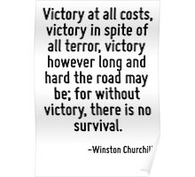 Victory at all costs, victory in spite of all terror, victory however long and hard the road may be; for without victory, there is no survival. Poster