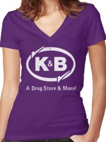 K&B [white] Women's Fitted V-Neck T-Shirt