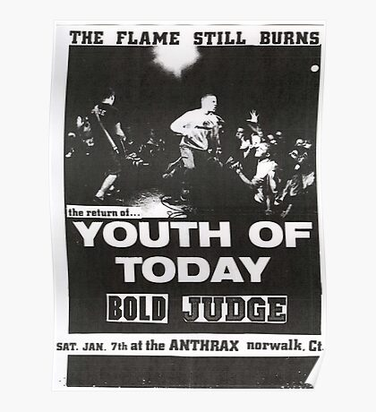 youth of today bold judge hardcore punk show flyer Poster