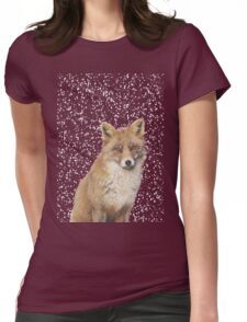 Arctic Snow Red Fox Womens Fitted T-Shirt