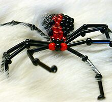 Glass Beaded Spider on Fur by 2Feathers