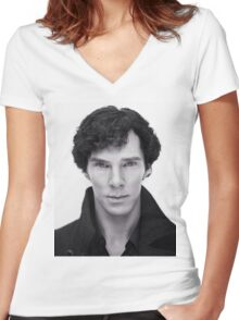 Benedict Cumberbatch In Sherlock Women's Fitted V-Neck T-Shirt