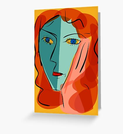 Portrait of blue girl with yellow background. Greeting Card
