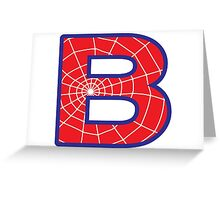 B letter in Spider-Man style Greeting Card