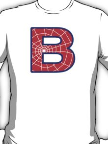 B letter in Spider-Man style T-Shirt