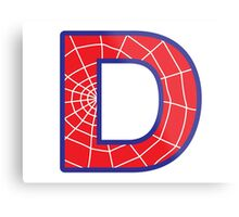 D letter in Spider-Man style Metal Print