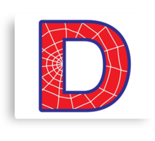 D letter in Spider-Man style Canvas Print
