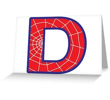 D letter in Spider-Man style Greeting Card