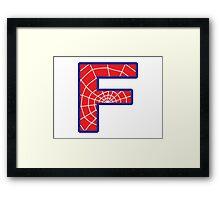 F letter in Spider-Man style Framed Print