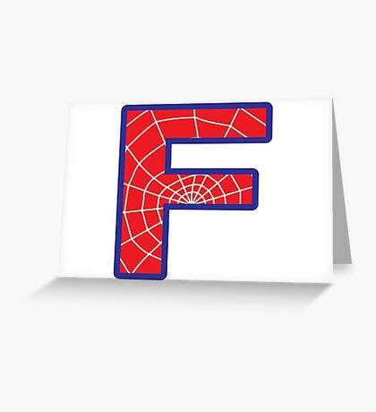 F letter in Spider-Man style Greeting Card