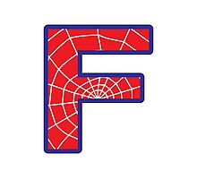 F letter in Spider-Man style Photographic Print