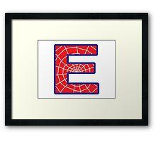 E letter in Spider-Man style Framed Print