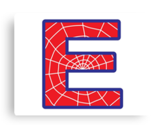 E letter in Spider-Man style Canvas Print