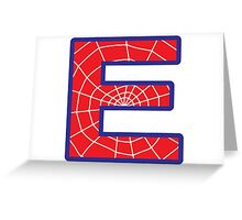 E letter in Spider-Man style Greeting Card