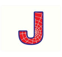 J letter in Spider-Man style Art Print