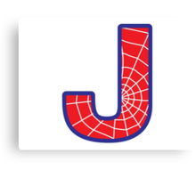 J letter in Spider-Man style Canvas Print
