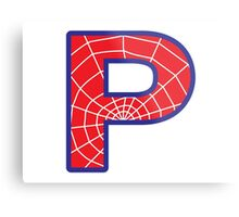 P letter in Spider-Man style Metal Print