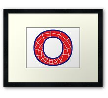 O letter in Spider-Man style Framed Print