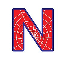 N letter in Spider-Man style Photographic Print