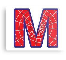 M letter in Spider-Man style Metal Print