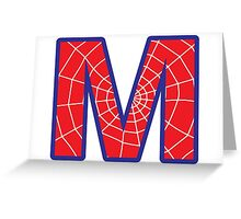 M letter in Spider-Man style Greeting Card