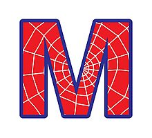 M letter in Spider-Man style Photographic Print