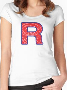 R letter in Spider-Man style Women's Fitted Scoop T-Shirt
