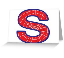 S letter in Spider-Man style Greeting Card