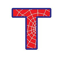 T letter in Spider-Man style Photographic Print