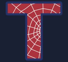 T letter in Spider-Man style One Piece - Short Sleeve
