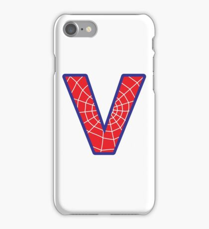 V letter in Spider-Man style iPhone Case/Skin