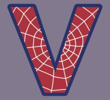 V letter in Spider-Man style Kids Tee