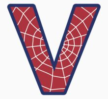 V letter in Spider-Man style T-Shirt