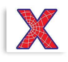 X letter in Spider-Man style Canvas Print