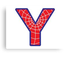 Y letter in Spider-Man style Canvas Print