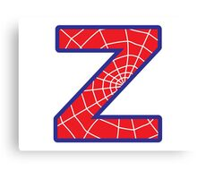 Z letter in Spider-Man style Canvas Print