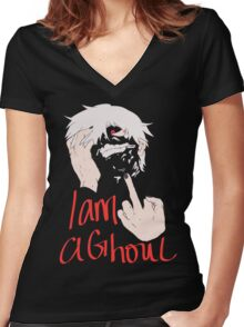 I am a ghoul  Women's Fitted V-Neck T-Shirt